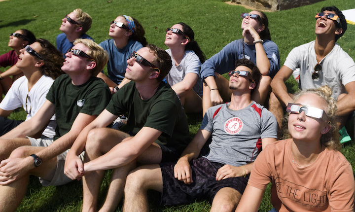 Students watching the solar eclipse at Yea, Alabama!