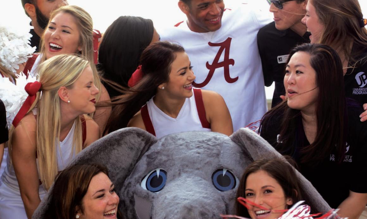 UP students with cheerleaders and Big Al