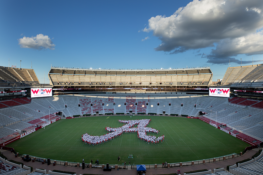 Script A formed by Class of 2024 and 2025 in Bryant Denny stadium