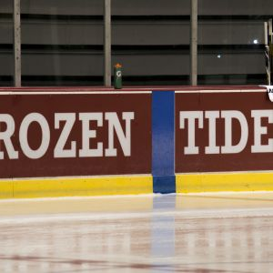 Pictured is siding of the ice for the Alabama hockey game.